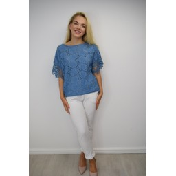 Lucy Cobb Kendal Broderie Anglaise Top in Cornflower Blue