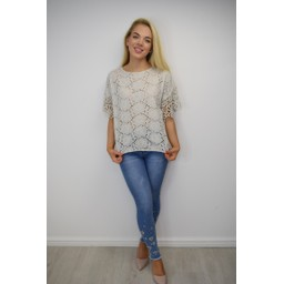 Lucy Cobb Kendal Broderie Anglaise Top - Stone