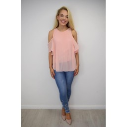Lucy Cobb Pippa Pleated Cold Shoulder Top - Baby Pink