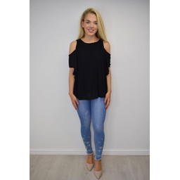 Lucy Cobb Pippa Pleated Cold Shoulder Top - Black
