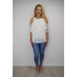 Lucy Cobb Pippa Pleated Cold Shoulder Top in White