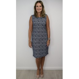 Alice Collins Helen Jersey Dress in Navy Print