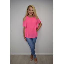 Lucy Cobb Pippa Pleated Cold Shoulder Top in Pink