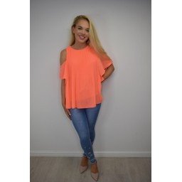 Lucy Cobb Pippa Pleated Cold Shoulder Top - Orange