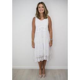 Lucy Cobb Caron Crochet Panel Dress - White