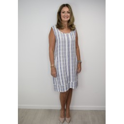 Alice Collins Harriet Dress in Dusky Indigo Stripe