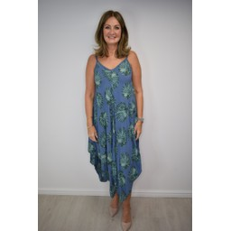 Lucy Cobb Palm Tree Handkerchief Dress - Denim Blue