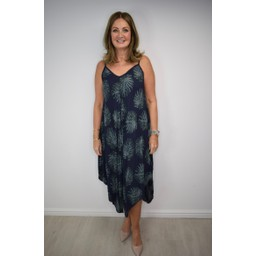 Lucy Cobb Palm Tree Handkerchief Dress - Navy