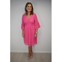 Lucy Cobb Lilly Lace Dress in Fuchsia