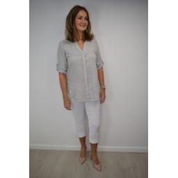 Lucy Cobb Lena Linen Shirt in Grey
