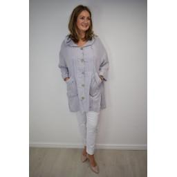 Lucy Cobb Ola Oversized Hooded Linen Jacked - Grey