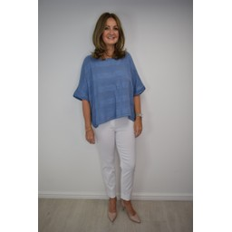 Lucy Cobb Shanna Striped Box Top - Denim Blue