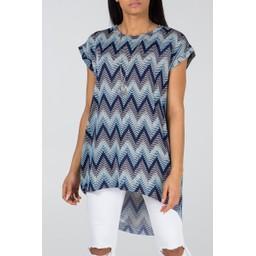 Lucy Cobb Allie Aztec Oversized Top - Blue