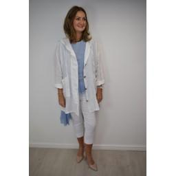 Lucy Cobb Ola Oversized Hooded Linen Jacked - White
