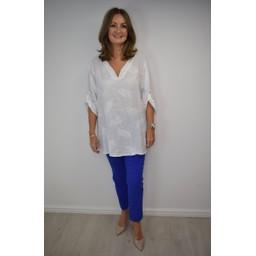 Lucy Cobb Leaf Linen Oversized Shirt - White Leaf