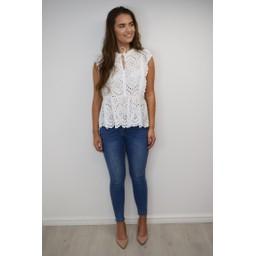 Lucy Cobb Elen Embroidery Tie Neck Top - White