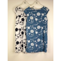 Lucy Cobb Elke Embroidery Cotton Dress - Denim Blue