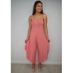 Lucy Cobb Stella Striped Hareem Jumpsuit - Coral Striped