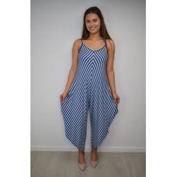 Lucy Cobb Stella Striped Hareem Jumpsuit - Denim Stripe