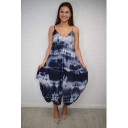 Lucy Cobb Tahiti Tie Dye Dress - Navy