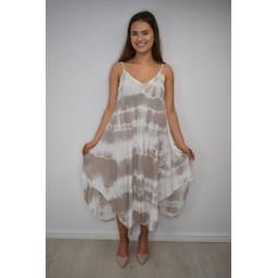 Lucy Cobb Tahiti Tie Dye Dress - Stone