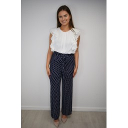 Lucy Cobb Willow Wide Leg Trousers - Navy Spot