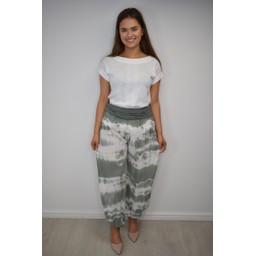 Lucy Cobb Hallie Harem Tie Dye Trousers  - Khaki