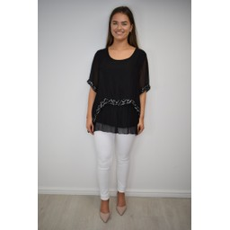 Lucy Cobb Cassie Chiffon Sequin Top in Black