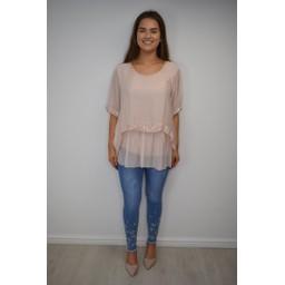 Lucy Cobb Cassie Chiffon Sequin Top - Blush Pink