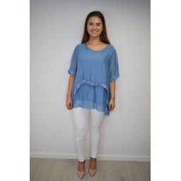 Lucy Cobb Cassie Chiffon Sequin Top in Denim Blue