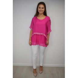 Lucy Cobb Cassie Chiffon Sequin Top in Fuchsia