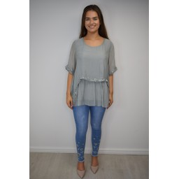 Lucy Cobb Cassie Chiffon Sequin Top in Grey