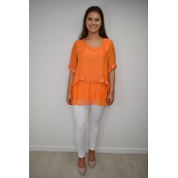 Lucy Cobb Cassie Chiffon Sequin Top in Orange