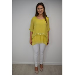 Lucy Cobb Cassie Chiffon Sequin Top in Yellow