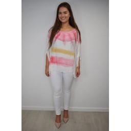 Lucy Cobb Tanya Tie Dye Silk Top - Pink