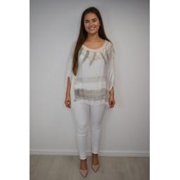 Lucy Cobb Tanya Tie Dye Silk Top - Stone