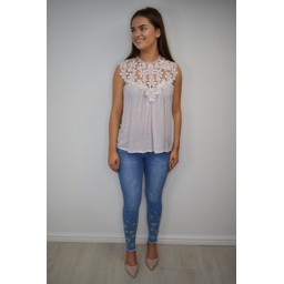 Lucy Cobb Charlotte Lace Top - Blush Pink