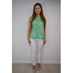 Lucy Cobb Charlotte Lace Top - Green
