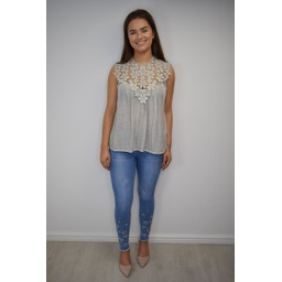 Lucy Cobb Charlotte Lace Top - Stone