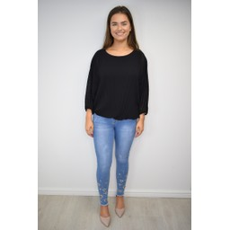 Lucy Cobb Betsie Batwing Pleated Top in Black