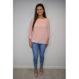 Lucy Cobb Betsie Batwing Pleated Top - Blush Pink
