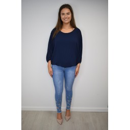 Lucy Cobb Betsie Batwing Pleated Top in Navy