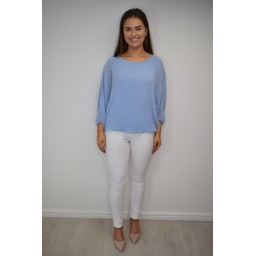 Lucy Cobb Betsie Batwing Pleated Top - Pale Blue