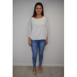 Lucy Cobb Betsie Batwing Pleated Top in White