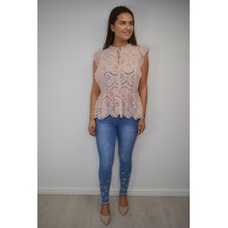 Lucy Cobb Elen Embroidery Tie Neck Top - Blush Pink
