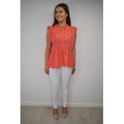 Lucy Cobb Elen Embroidery Tie Neck Top - Coral