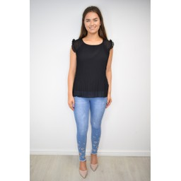 Lucy Cobb Paloma Pleated Top in Black