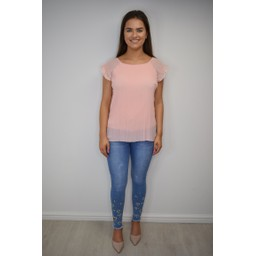 Lucy Cobb Paloma Pleated Top - Blush Pink