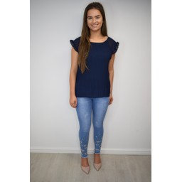Lucy Cobb Paloma Pleated Top in Navy