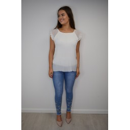Lucy Cobb Paloma Pleated Top in White